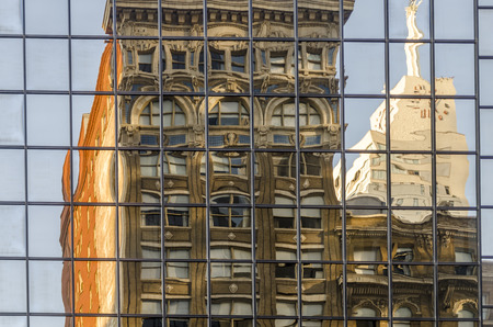 reflections on a Crystal facade in a Modern Building in Downtown Dallas. Texas. Stock Photo