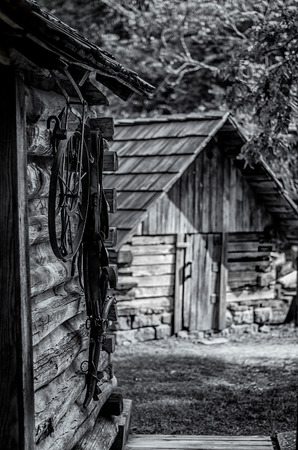 Working Tools in an Old Cabin of a Cherokee Village Stock Photo