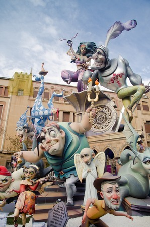 fallas: VALENCIA, SPAIN - MARCH 17: The Fallas is a traditional celebration in which hundreds of papier mache sculptures are eventually burnt Saint Josephs night, March 17, 2013 in Valencia, Spain Editorial