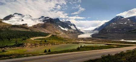 Mountain with glacier in Alberta, Canada.
