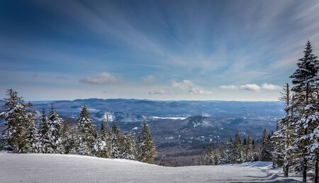 Enjoying a beautiful day of skiing in Quebec Stock Photo