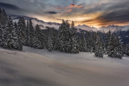 A winter shot taken in the swiss alps during sunrise. The sky shows wonderful colors over the mountain range. Snow covered trees of a forest. Standard-Bild