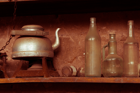 piacenza: ancient teapot with a bottle