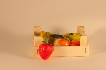 brown box: brown box wood with marzipan fruit Stock Photo