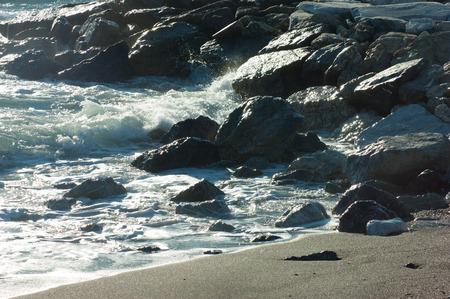 waves crashing: waves crashing on the sea beach rocks