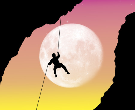 Alpinist at night Stock Photo