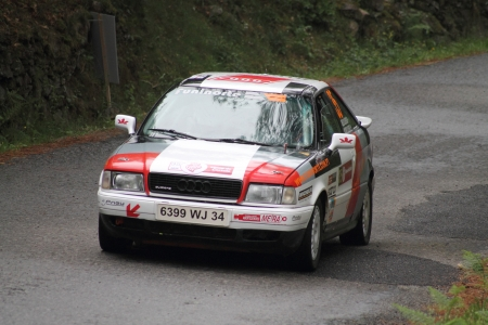land slide: Rally car in action
