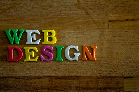 webdesign: Webdesign written with colorful letters Stock Photo