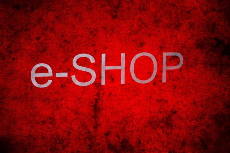 e shop sign on a red background photo