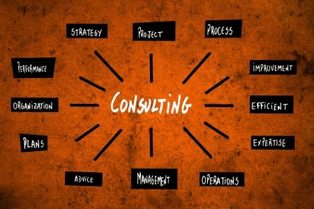 gobierno corporativo: Consultar diagrama en naranja Foto de archivo
