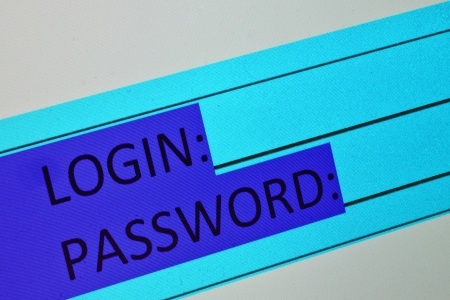 access restricted: Login and password on computer screen to access restricted area
