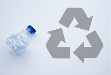 plastic bottle with recycle symbol  photo