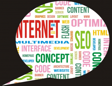 call out: Internet terms in call out Stock Photo