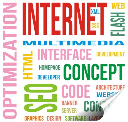 Internet terms on a post it qith a crease Stock Photo - 20892382