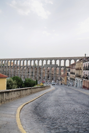 The famous ancient roman aqueduct in Segovia