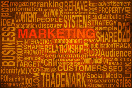 Marketing terms scheme in orange colors to be used as background photo