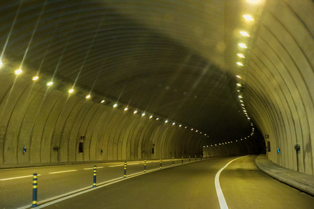 road tunnel: Abstract speed motion in urban highway road tunnel Stock Photo