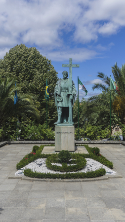 belmonte: Statue of Pedro Alvares Cabral, the navigator who discovered the land of Brazil, in his native town Belmonte in Portugal. Editorial