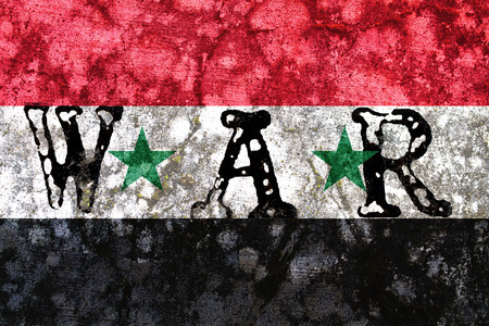 tribalism: syria national flag with war word inside