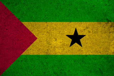 tome: Sao Tome and Principe flag on an old grunge background Stock Photo