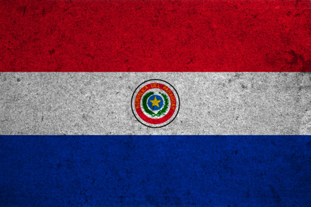 bandera de paraguay: bandera de Paraguay en un viejo fondo del grunge Foto de archivo