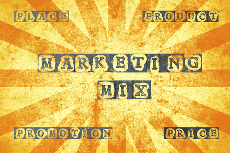4p: Poster with marketing mix terms on a grunge background