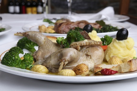 Restaurant dish - partridge stuffed with chestnuts Stock Photo - 12886997