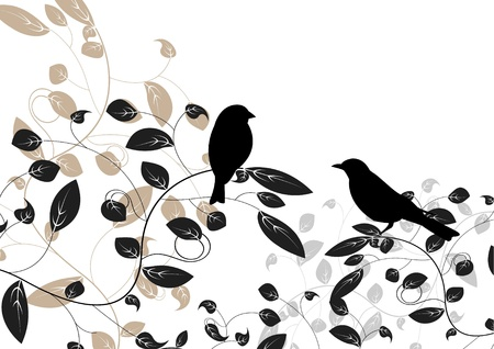 bird and tree: floral an bird of illustration
