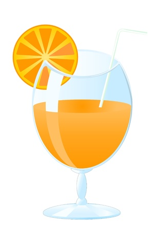 orange jus in glass Vector