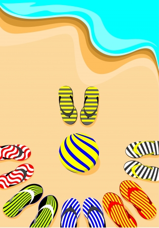 volley ball: flip-flop and volley ball Illustration