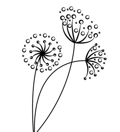 silhouette fleur: noir fleur d'art Illustration