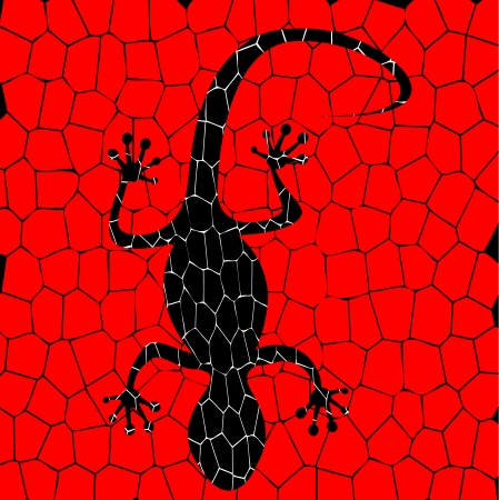 gecko: black lizards with red background Illustration
