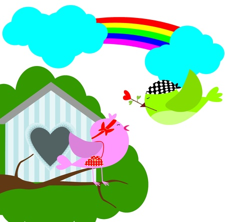 bird love with sweet home