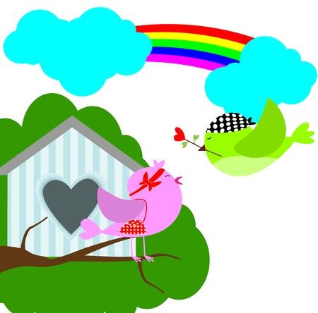 bird love with sweet home Stock Vector - 15025282