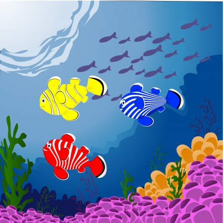 three fish in deep sea Illustration