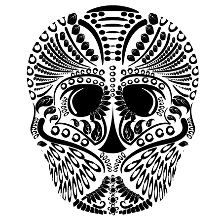 simple head bone tattoo Vector