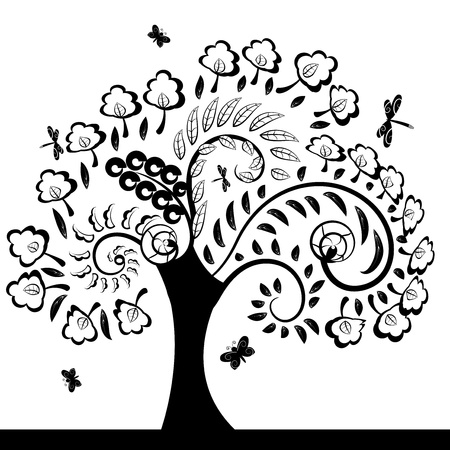 sample text: tree floral decorative