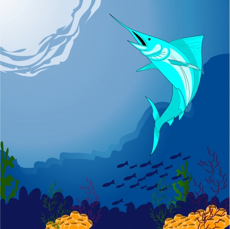 alga: deep blue sea and fish Illustration