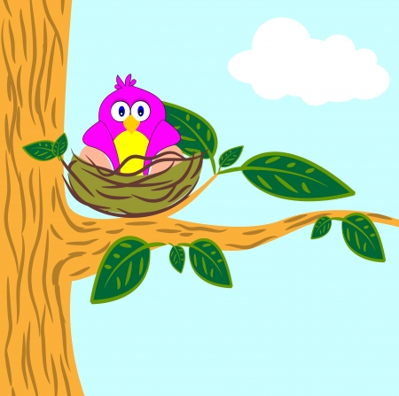 nestling birds: tree cartoon Illustration