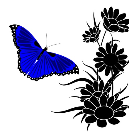spotted flower: blue butterfly