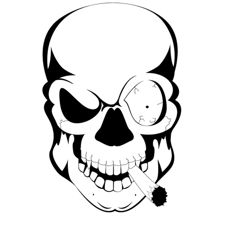 tattoo skull with cigarate Stock Vector - 15595270