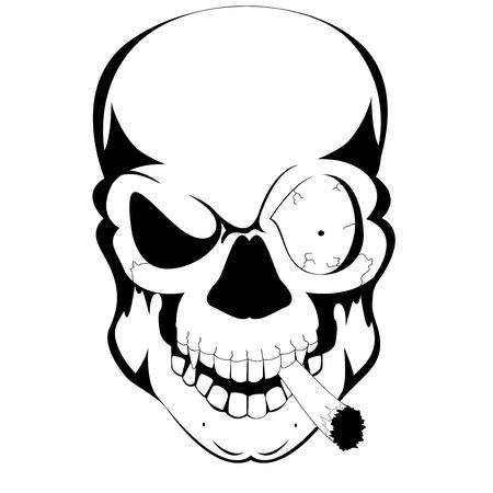 dead sea: tattoo skull with cigarate