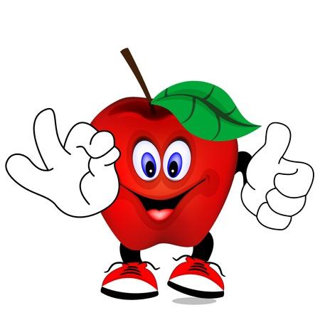 banana peel: red apple Illustration