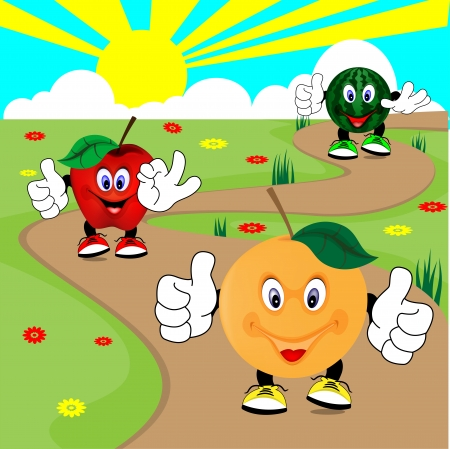 fruit walking Vector
