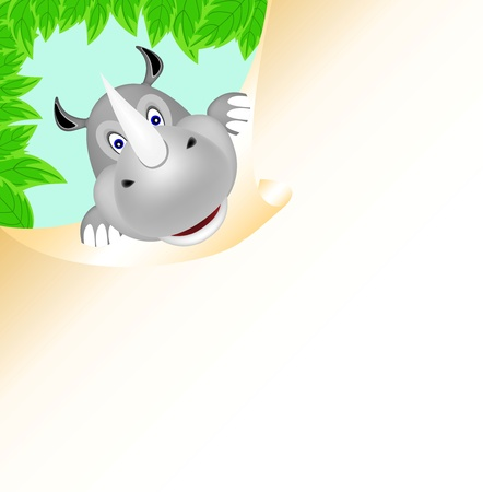 rhino with big paper Vector