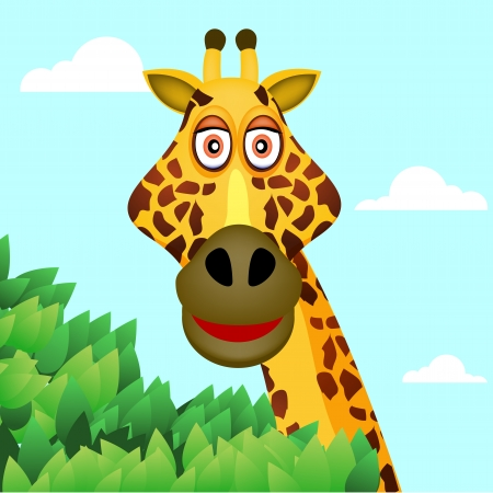 giraffe and tree Vector