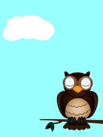 owl sleeping Vector
