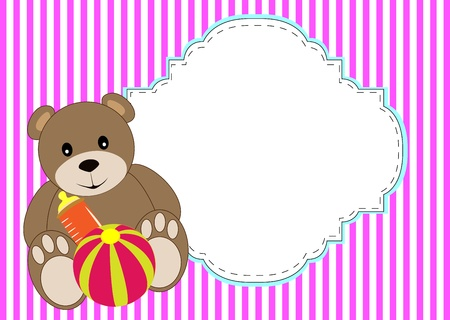 cute bear dolly with ball vector of illustration Illustration