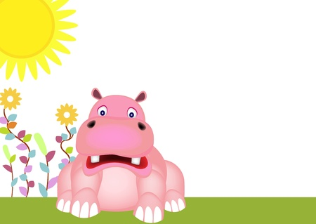 cute hippo baby and sunrise Vector