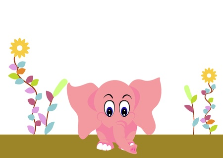 cute elephant baby on the garden Illustration